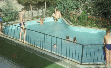 A clean swimming pool used by