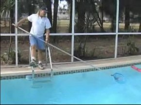 scooping debris from pool