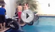 Four Bikes Wheelie in Swimming Pool - Water Rainbow in Brazil